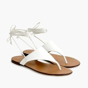 Jcrew ankle tie thong sandals in leather white